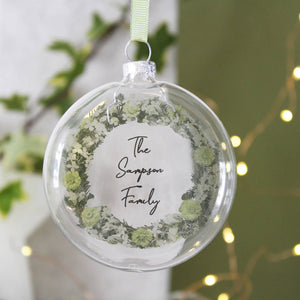 Family Christmas Personalised Wreath Bauble Decoration - Olivia Morgan Ltd