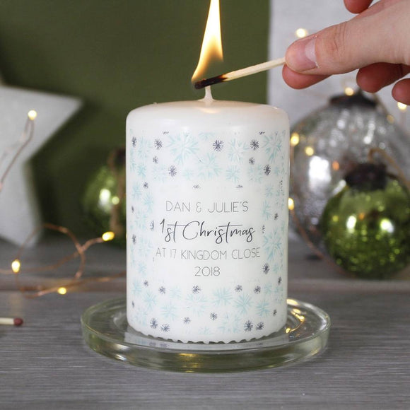 First Christmas New Home Personalised Snowflake Candle - Olivia Morgan Ltd