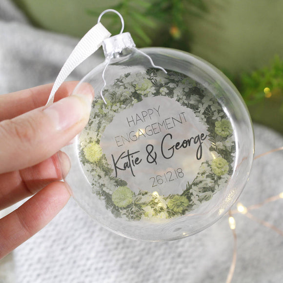Happy Engagement Personalised Wreath Bauble Decoration - Olivia Morgan Ltd