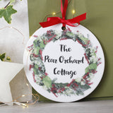 Personalised House Name Ceramic Door Wreath - Olivia Morgan Ltd