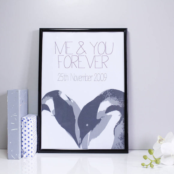Penguin Love Personalised Anniversary Print - Olivia Morgan Ltd