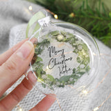 Merry Christmas Personalised Wreath Glass Bauble - Olivia Morgan Ltd