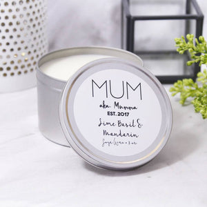 Mum Scented Soya Wax Tin Personalised Candle - Olivia Morgan Ltd