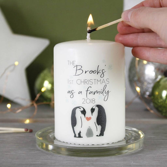 Penguin First Christmas As A Family Personalised  Candle - Olivia Morgan Ltd