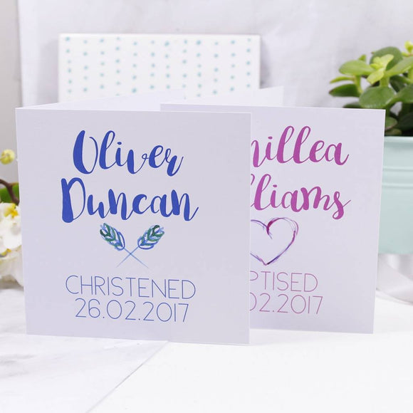 Simple Personalised Christening Card For Boys And Girls - Olivia Morgan Ltd
