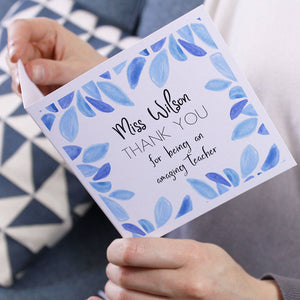 Teacher Thank You Patterned Personalised Card - Olivia Morgan Ltd