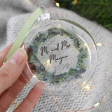 Mr and Mrs Personalised Wreath Glass Bauble - Olivia Morgan Ltd