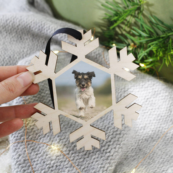 Pet Photo Snowflake Christmas Hanging Decoration - Olivia Morgan Ltd