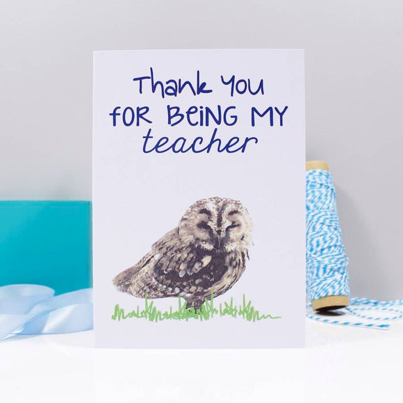 Owl Thank You For Being My Teacher Card - Olivia Morgan Ltd