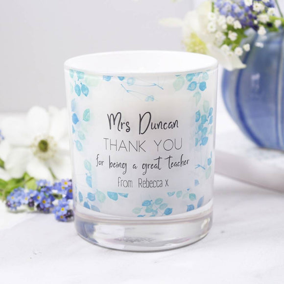 Thank You Teacher Personalised Scented Candle - Olivia Morgan Ltd
