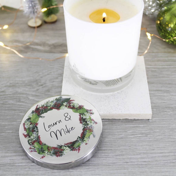 Wreath Scented Christmas Candle With Lid For Couples - Olivia Morgan Ltd