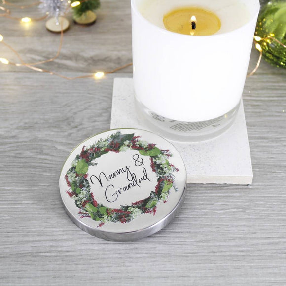 Grandparents Wreath Scented Christmas Candle With Lid - Olivia Morgan Ltd