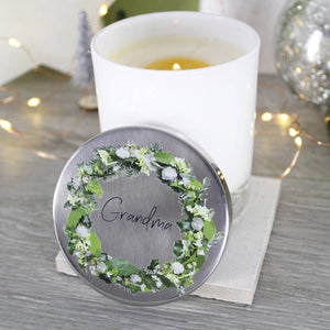 Wreath Scented Christmas Candle With Lid For Grandma - Olivia Morgan Ltd
