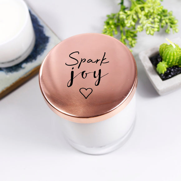 Spark Joy Scented Candle With Lid - Olivia Morgan Ltd