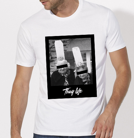 T-Shirt Thuglife bigoudene blanc homme galette complete png