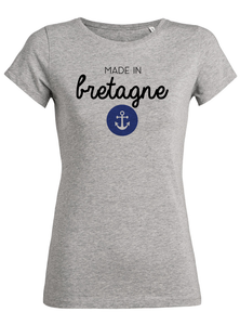 T-Shirt made in bretagne ancre #2 gris femme galette complete png