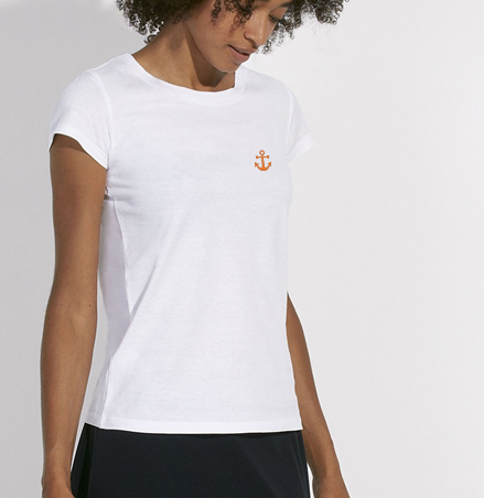 T-Shirt Ancre orange blanc femme galette complete png