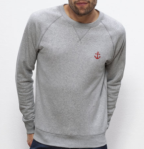 Sweat ancre rouge gris homme galette complète png