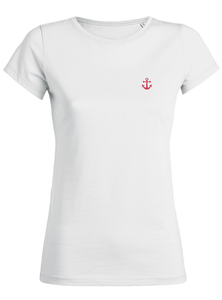 T-Shirt Ancre rouge saumon blanc femme galette complete png