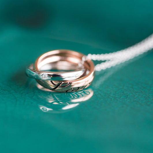 Love Rings Necklace with Personalised Gift Box