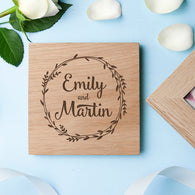 Romantic Wreath Frame Oak Photo Cube - Personalised