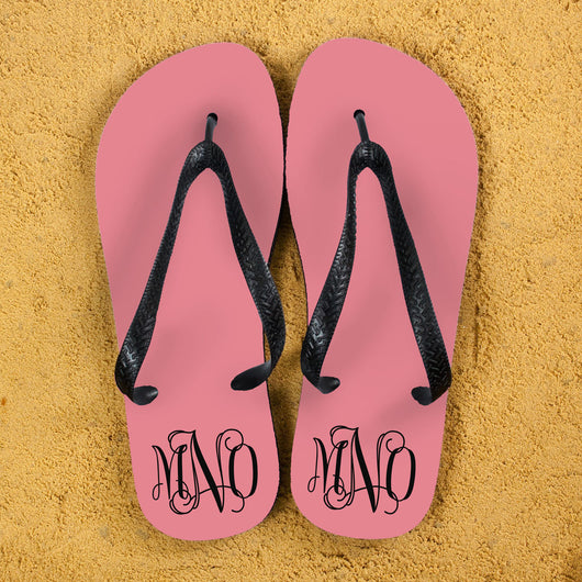 Personalised Flip Flops in Pink and Grey