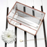 Personalised Glass Jewellery Box with Rose Gold Edging