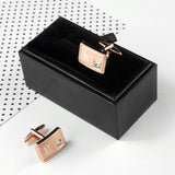 Personalised Crystal Rose Gold Plated Cufflinks