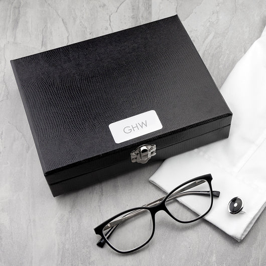 Personalised Leather Cufflinks Box