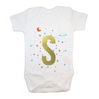 Personalised Space Print Baby Grow for Boys