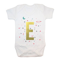 Personalised Space Print Baby Grow for Girls