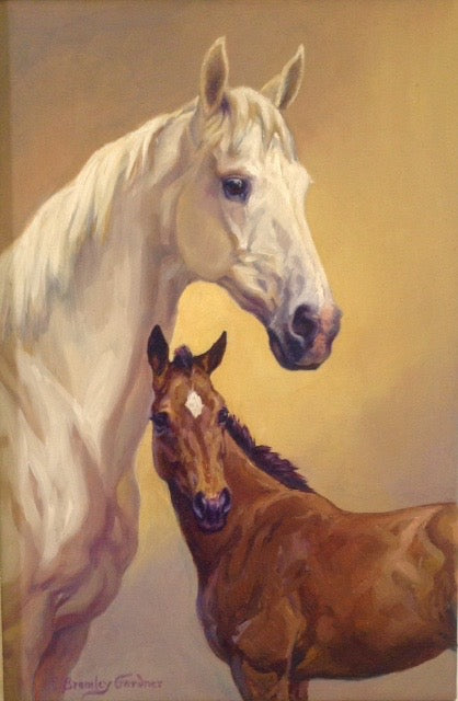 Mare and Foal-Fine Art Painting By Caroline Bromley-Gardner/Equine Art Equine Canine Art is an online sales platform for horse art and dog art.