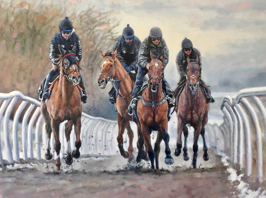 Winter Training-Original Fine Art Painting By Jane Braithwaite/Racing. Equine Canine Art is an online sales platform for horse art and dog art.