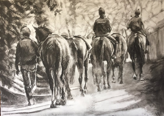 The Road Home..By Jane Braithwaite/Equine Art/Fine Art/Horse Racing.. Equine Canine Art is an online sales platform for horse art and dog art.