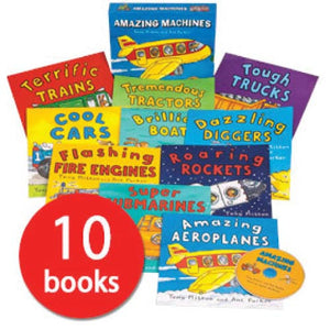 英文圖書 Amazing Machines Collection - 10 Books plus CD - mamaishop