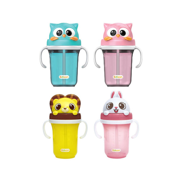 Edison Friends 3D STRAW CUP 動物水壺 (4款) - mamaishop