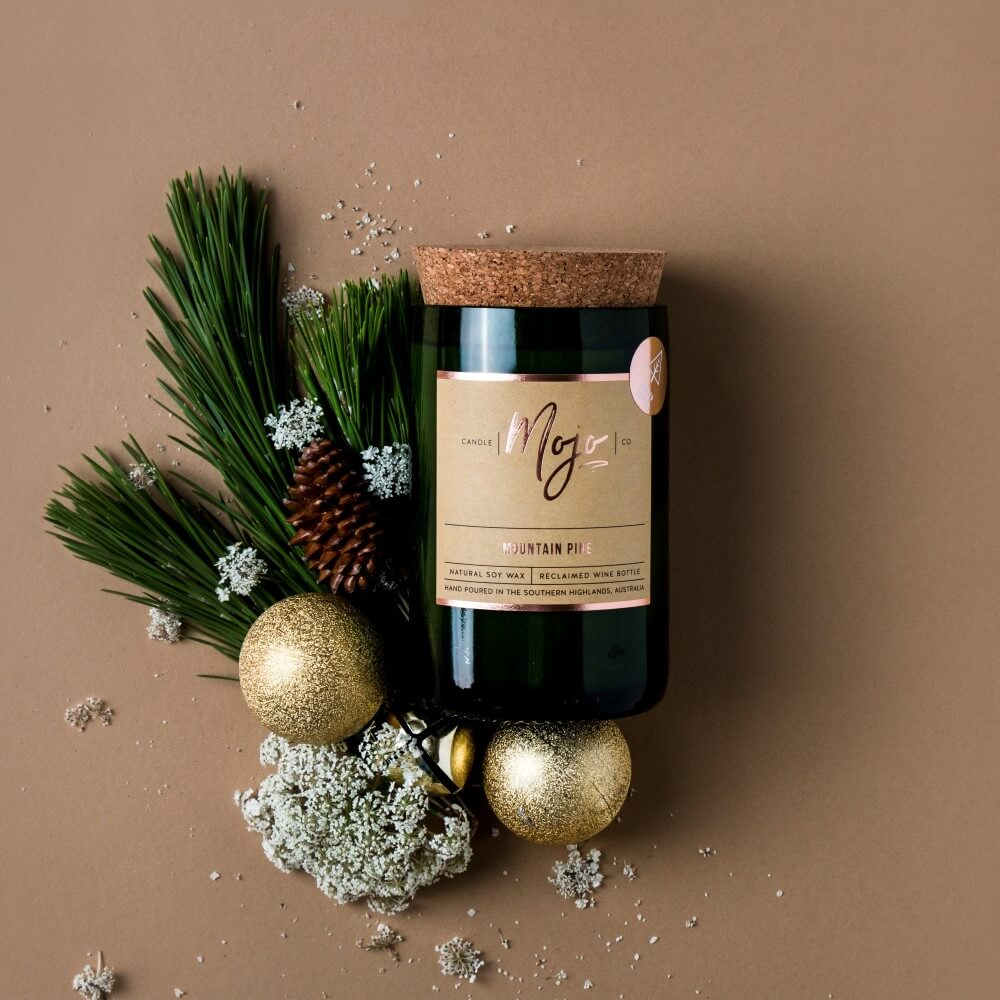 MOUNTAIN PINE - Christmas Limited Edition - Reclaimed Wine Bottle Soy Wax Candle