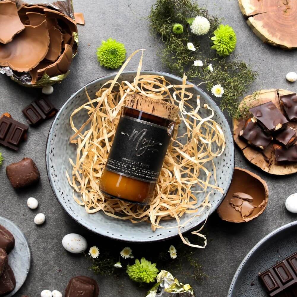 CHOCOLATE FUDGE - Easter Edition - Wood Wick Reclaimed Beer Bottle Candle