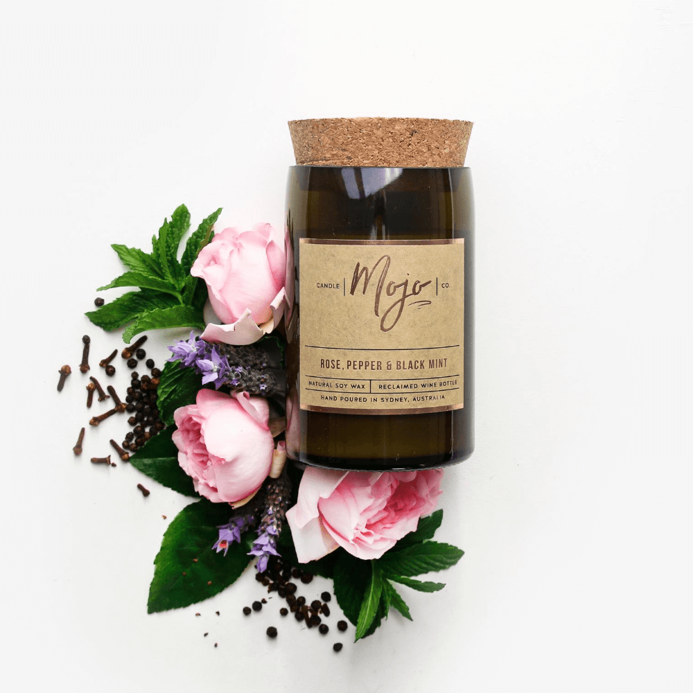 ROSE, PEPPER & BLACKMINT- Reclaimed Wine Bottle Soy Wax Candle