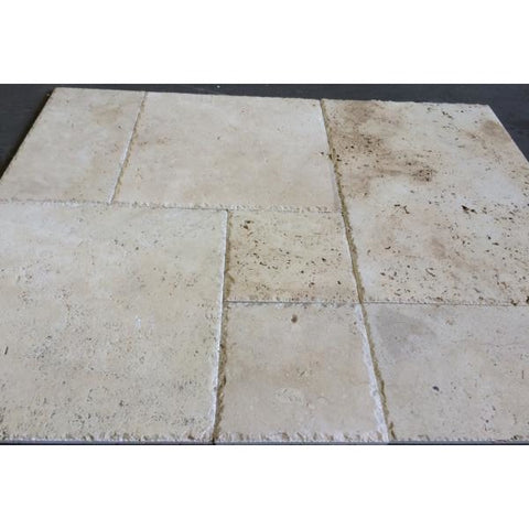 Travertine Ivory French Pattern 30mm Paver Brushed & Chiselled Per m2