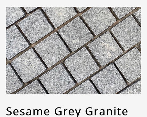 sesame grey granite cobble stone on sheets