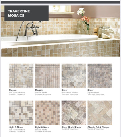 Travertine Tumbled Mosaic Sheets