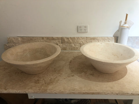 travertine basin and vanity set