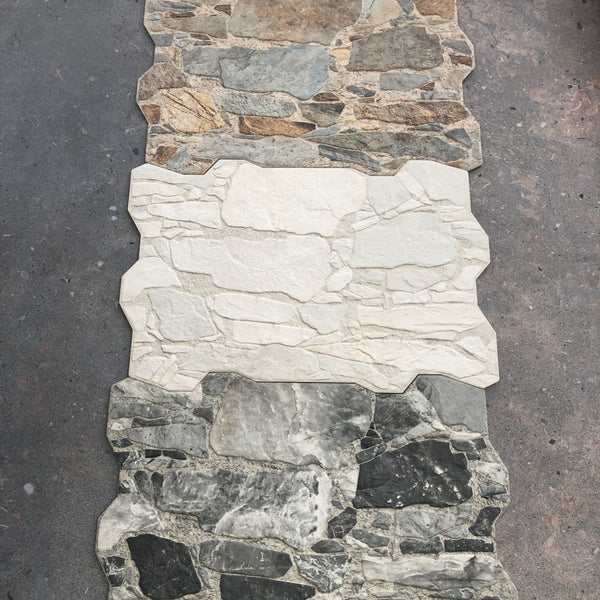 Stone look porcelain wall cladding