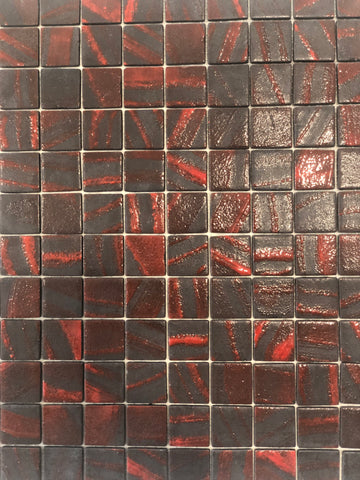 Spanish Glass Charcoal / Red Mosaics  Price Per  Sheet