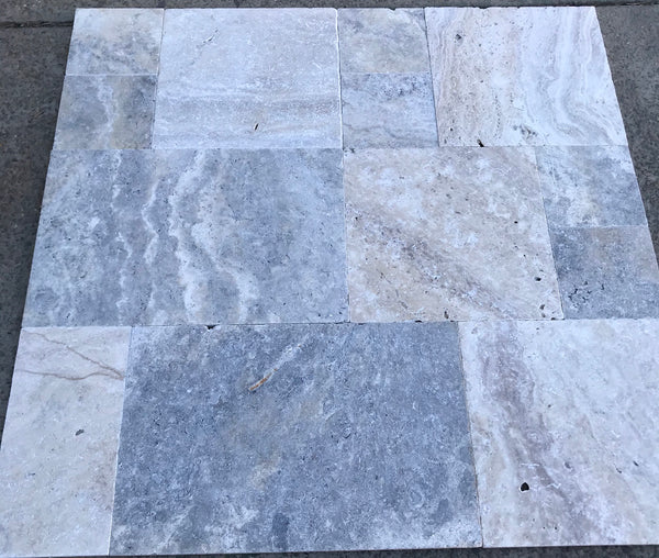 Silver Travertine Antico Tumbled Tiles & Pavers