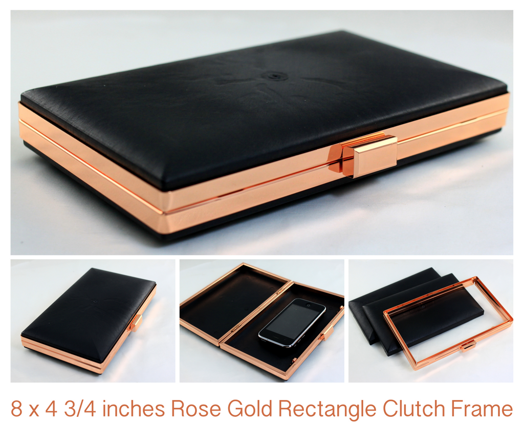 8 inch large rose gold clutch frame, box clutch frame, rose gold evening clutch, supplier