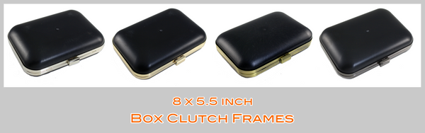 8 inch Large Box Clutch, Metal Box Clutch Frame, Rectangle Box Clutch Frame, Clamshell MINAUDIÈRE Clutch frame