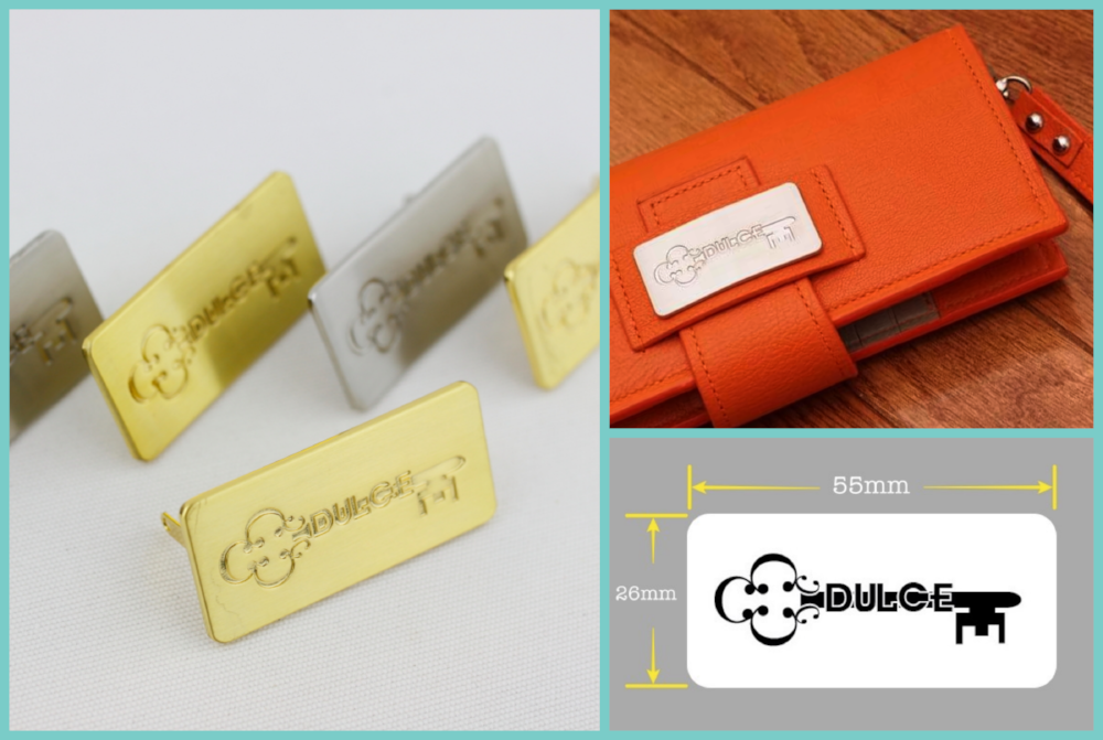brushed gold and brush silver metal label for fashion brand, metal tags for handbag clutch