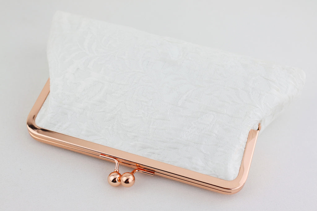 rose gold bridal clutch, rose gold purse, wedding clutch, ivory lave clutch